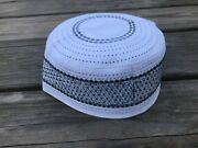 Pray Hat White/gray Embroidery Islamic Prayer Cap Topi Traditional Hats Size S