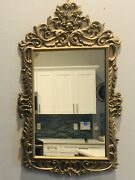 Vintage Burwood Products Gold Gilt Ornate Hollywood Regency Square Wall Mirror