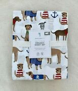 Pottery Barn Kids Salty Dog Sheet Set Twin Blue Red White Brown
