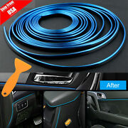 Blue 16ft Car Interior Door Gap Edge Line Insert Molding Trim Decor Strip + Tool
