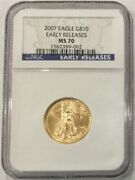 2007 Gold Eagle 10 Ngc Ms70 Early Releases - American Gold Eagle