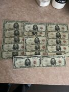 """Willing 2 Split 17 Notes All """"a"""" Serial S 1963 5 Dollar Bill United States"""