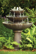 44 Tranquility Spill Fountain With Birds - Outdoor Concrete Garden Water
