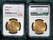 1906-s 20 Gold Double Eagle Ngc Ms60