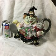 Fitz And Floyd Teapot Halloween Hoedown Witch Cat Hat 37 Oz 1992 Vintage