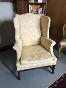 Federal Style Designer High End Yellow Jacquard Wing Back Chair Down Cushion