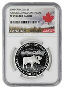 1985 Proof Natl Parks Cent Moose Canada Silver Dollar S1 Ngc Pr Pf 69 Ultra Cam