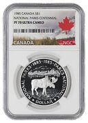 1985 Proof Natl Parks Cent Moose Canada Silver Dollar S1 Ngc Pr Pf 70 Ultra Cam