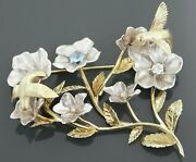 Vintage 14k Gold 2 Tone Hummingbirds Moving And Flowers Brooch