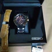 Auth Seiko Watch Brightz Quartz Saga141 Executive Line Leather Band Included F/s