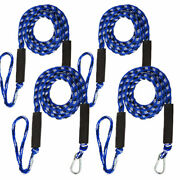 4x Marine Bungee Dock Line Boat Mooring Rope Anchor Cord Stretch Blue White Usa