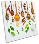 Spoons Spices Herbs Pepper Picture Canvas Wall Art Square Print White