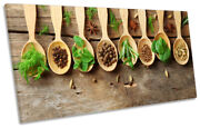Herbs Spoons Wooden Effect Picture Panoramic Canvas Wall Art Print Brown