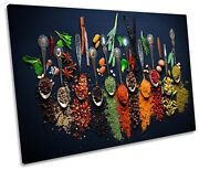 Spices Herbs Modern Spoons Picture Single Canvas Wall Art Print Multi-coloured