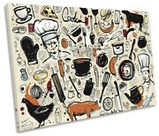 Chef Cooking Food Kitchen Picture Single Canvas Wall Art Print Multi-coloured