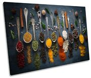 Herbs Spices Powder Spoons Kitchen Picture Single Canvas Wall Art Print