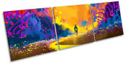 Colourful Abstract Landscape Picture Canvas Wall Art Triple Print Orange