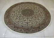 7x7 Area Rug Handknotted Oriental Handmade Natural Silk Traditional Round Carpet