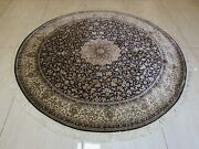 6x6 Area Rug Handknotted Oriental Handmade Natural Silk Traditional Round Carpet