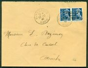 Germany Wwii Occupation France-dunkirk Mi. 3 Pair On Cover W/type 1 Hdstamp Ovpt