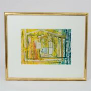 Signed Christopher Engel Painting Abstract Untitled Matted And Framed 19 X 23