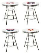 Mlb Bar Table White And Chrome W/team Logo Vinyl Decal And A Glass Top Option