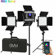 Gvm Rgb Led Video Photography 3-lights Panel Kit 168 Beads With Tripod Wireless