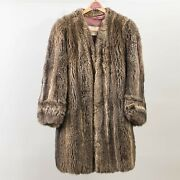 Vintage Kelly And Struzzieri Natural Brown Fur Coat Stroller Length Womenand039s Large