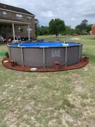 Summer Waves 14and039x36 Wicker Print Pool With Frame And Filter Pump System