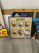 Rare Miller Beer Cleveland Indians Baseball Metal Sign Shows Diff Types Of Balls