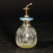 Antique Perfume Spritzer Atomizer Cut Crystal Blue Guilloche Sterling Silver