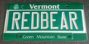Vintage Vermont Vanity License Plate Redbear Andrdquo Red Bear Brewing Company - Tag