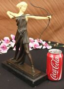 Signed Hot Cast Bronze Diana The Huntress Nude Sculpture Statue Mythical Nr Art