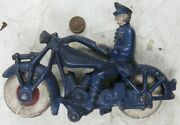 """Vintage Antique Cast Iron Hubley Champion Motorcycle Cop Policeman Nice 7"""" Long"""