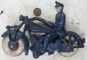 Vintage Antique Cast Iron Hubley Champion Motorcycle Cop Policeman Nice 7andrdquo Long