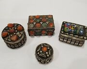 Lot Of 4 Vintage / Antique Trinket Boxes With Millefiori And Colourful Stones