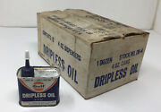 Nos Full Case Of 12 Gulf Dripless Oil 4oz. Can Advertising Gas Service Station