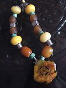 Old Chinese Natural Amber Turquoise Necklace With Antique Carved Jade Pendant