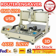 Usb 4axis 2200w Cnc 6090 Router Engraver Engraving Drill Artwork Cutter Ac110v