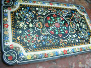 5and039x3and039 Exclusive Black Marble Outdoor Table Top Multi Marquetry Inlay Decor E842a