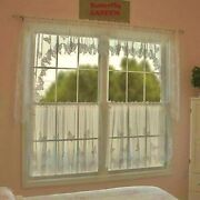 Ivory Butterflies Swag Pair Or Valance Or 24-30 Tier Kitchen Living Room Den