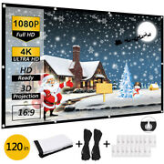 120 Extra Thick Hd Projector Screen 169 Home 4k Movie Theater Opaque Foldable