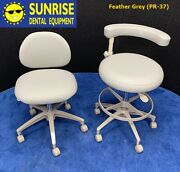 Adec 1601 And 1622 Dental Doctor And Assistant Stool Set - New Vinyl Upholstery