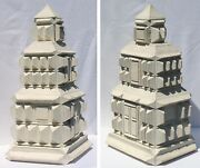 Striking Large Multi-tiered Tramp Art Box Heavily Decorated With Pyramids.