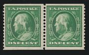 Us 387 1c Franklin Mint Coil Pair W/ Weiss Certificate Vf Og Nh Scv 1050
