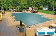 Mesh Safety Cover For 19and039-4 X 35and039-4 Grecian Pool With 4and039 X 8and039 Left End