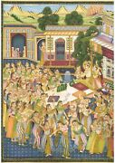Mughal Miniature Painting Of Akbarnama Series Hand Made Real Gold Art On Paper