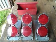 Vintage Anthes Road Flares Reflector Lenses On Stands W/ Metal Box