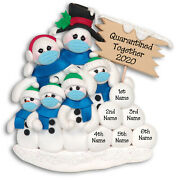 Quarantinetogether Pandemic Polymer Clay Snowman Family 6 Ornament Deb And Co