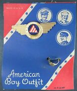 Vintage American Boy Outfit Air Warden Badge And Ring On Card New Old Store Stock